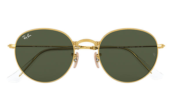c0d9bcd8c10d Ray-Ban Round Metal Folding RB3532 Gold - Metal - Green Lenses ...