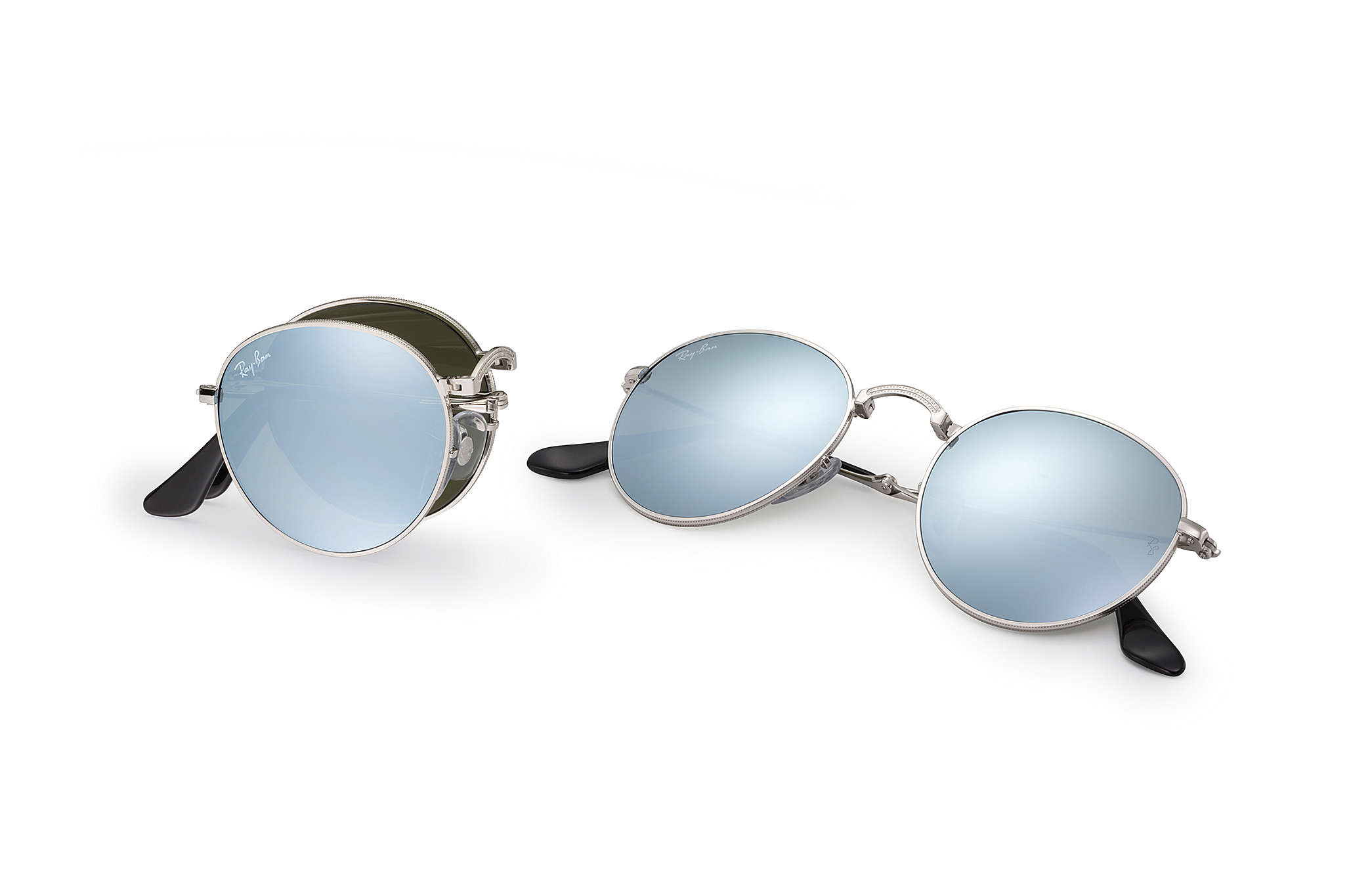d6bab3684d Ray-Ban Round Metal Folding RB3532 Silver - Metal - Silver Lenses ...