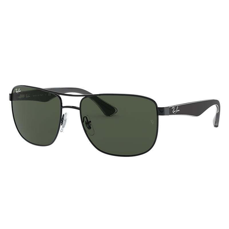 Ray-Ban Black Sunglasses, Green Lenses - Rb3533