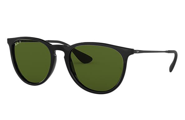 Ray-Ban Sunglasses ERIKA CLASSIC LOW BRIDGE FIT Black with Green Classic G-15 lens