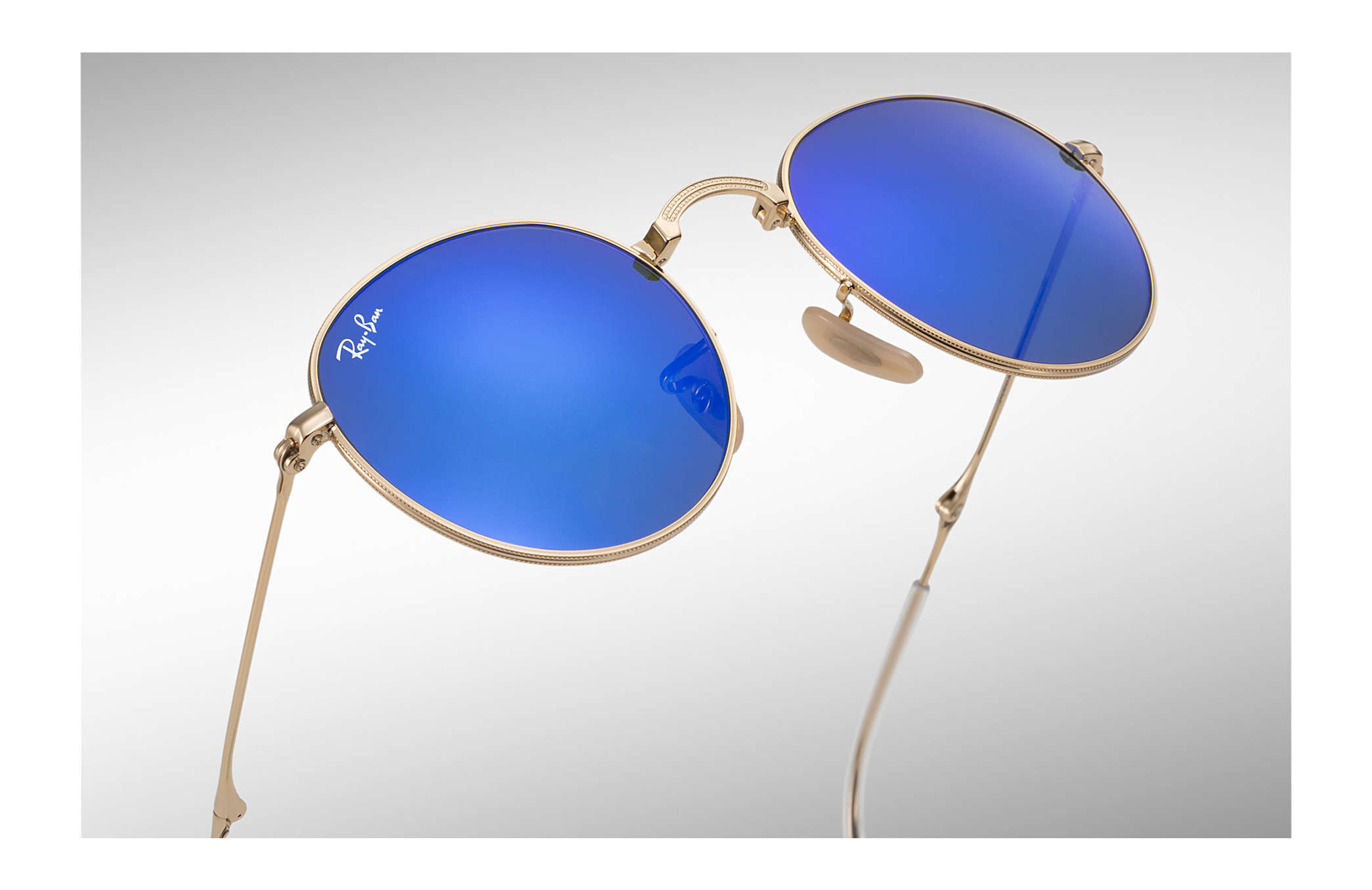 0340e19f86 Ray-Ban Round Metal Folding RB3532 Gold - Metal - Blue Lenses ...