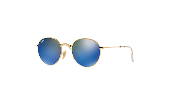 aafa77f10f1 Ray-Ban Round Metal Folding RB3532 Gold - Metal - Blue Lenses -  0RB3532001 6850