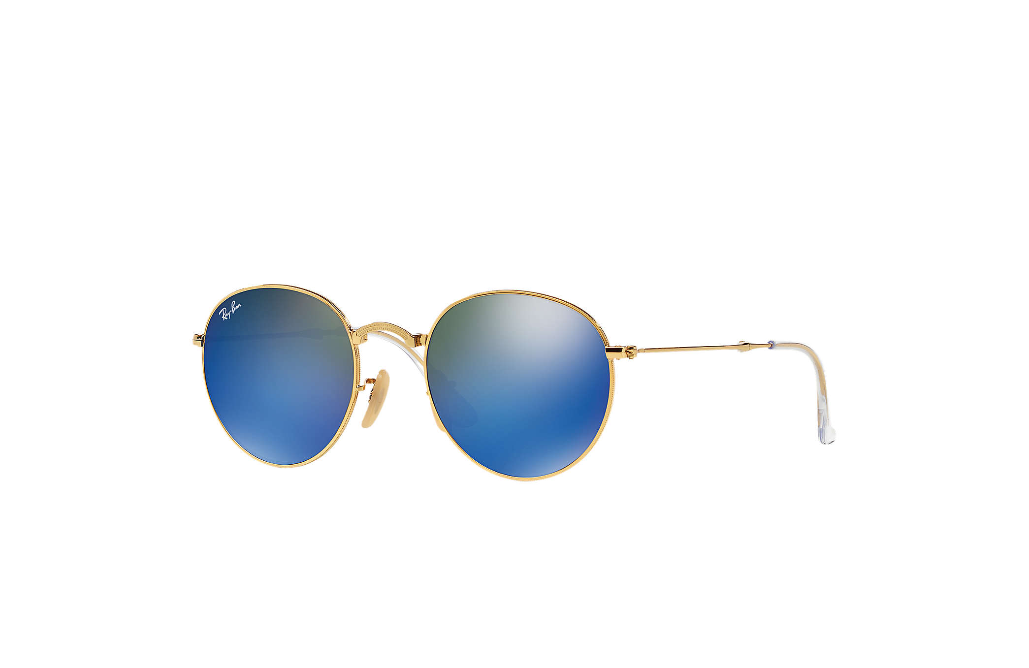 fbad4c9084a Ray-Ban Round Metal Folding RB3532 Gold - Metal - Blue Lenses ...