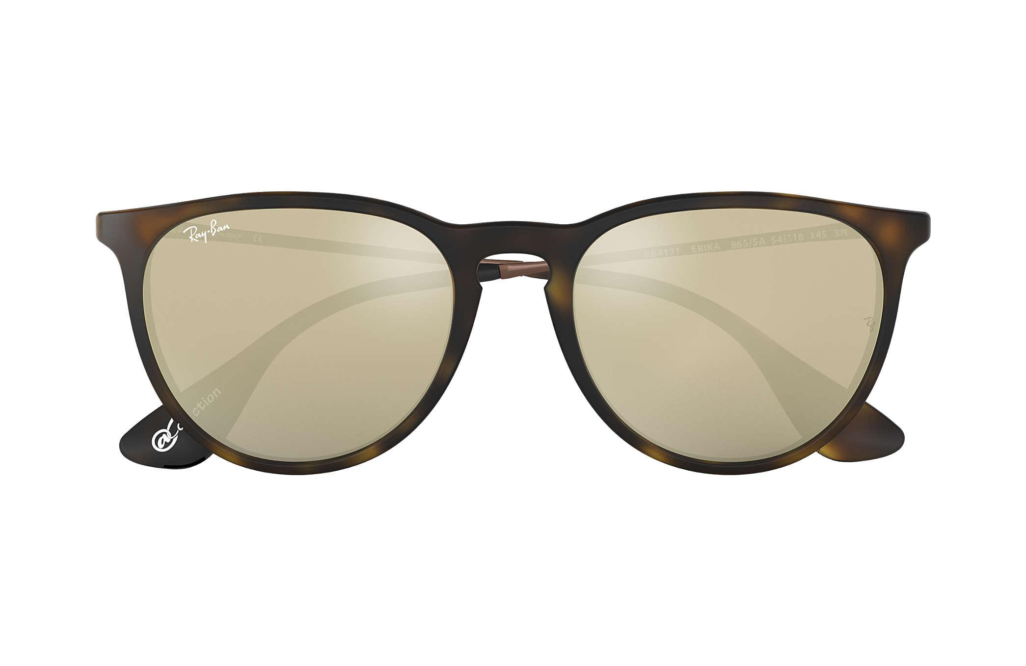 31a3b1069f631 Ray-Ban Erika  collection RB4171 Tortoise - Nylon - Gold Lenses ...