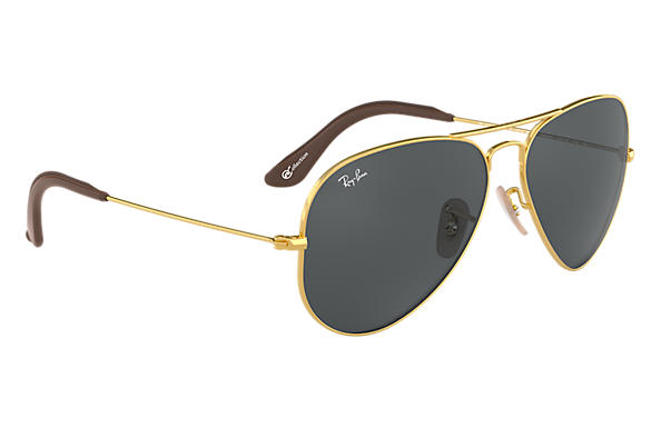 4fec3dd755f8 Ray-Ban Aviator @collection RB3025 Gold - Metal - Blue/Gray Lenses ...