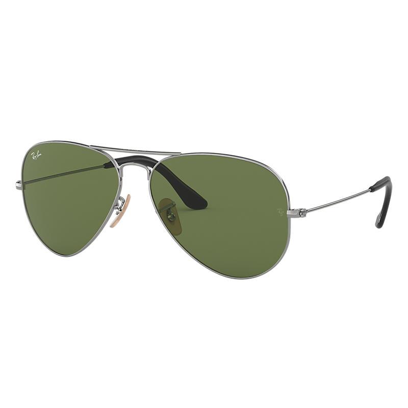 Ray Ban Aviator @Collection Gunmetal Sunglasses, Green Lenses Rb3025