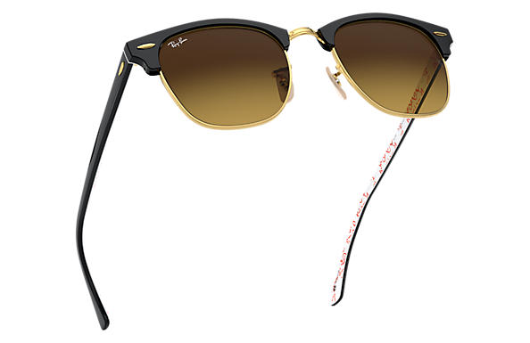 Ray-Ban Clubmaster  collection RB3016 Black - Acetate - Brown Lenses ... 81fd46ad537c0