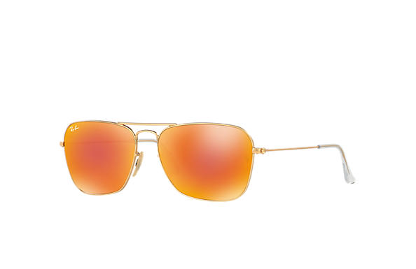 Ray-Ban Sunglasses CARAVAN Gold with Orange Flash lens