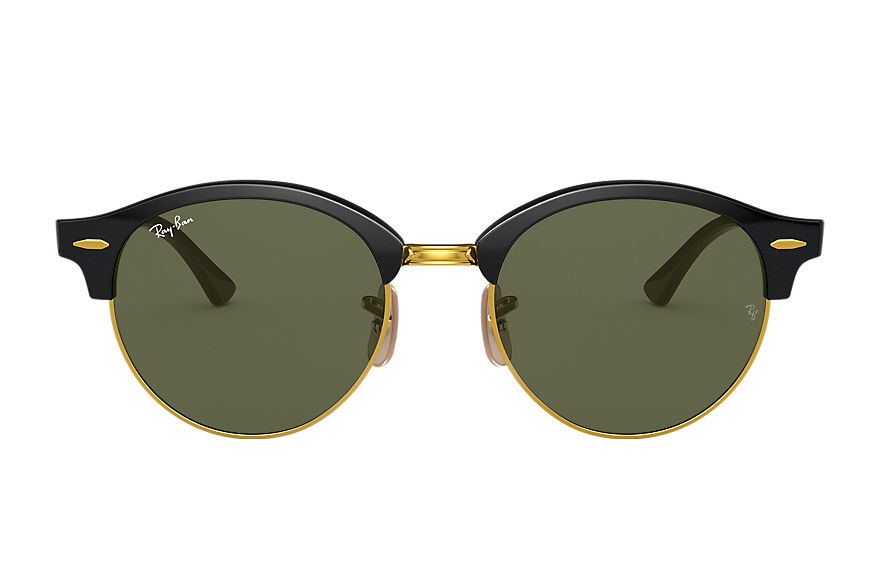Ray-Ban Sunglasses CLUBROUND CLASSIC Black with Green Classic G-15 lens