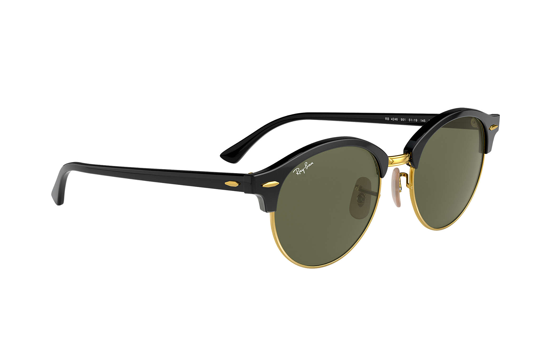 92aae365a5 Ray-Ban Clubround Classic RB4246 Black - Acetate - Green Lenses ...