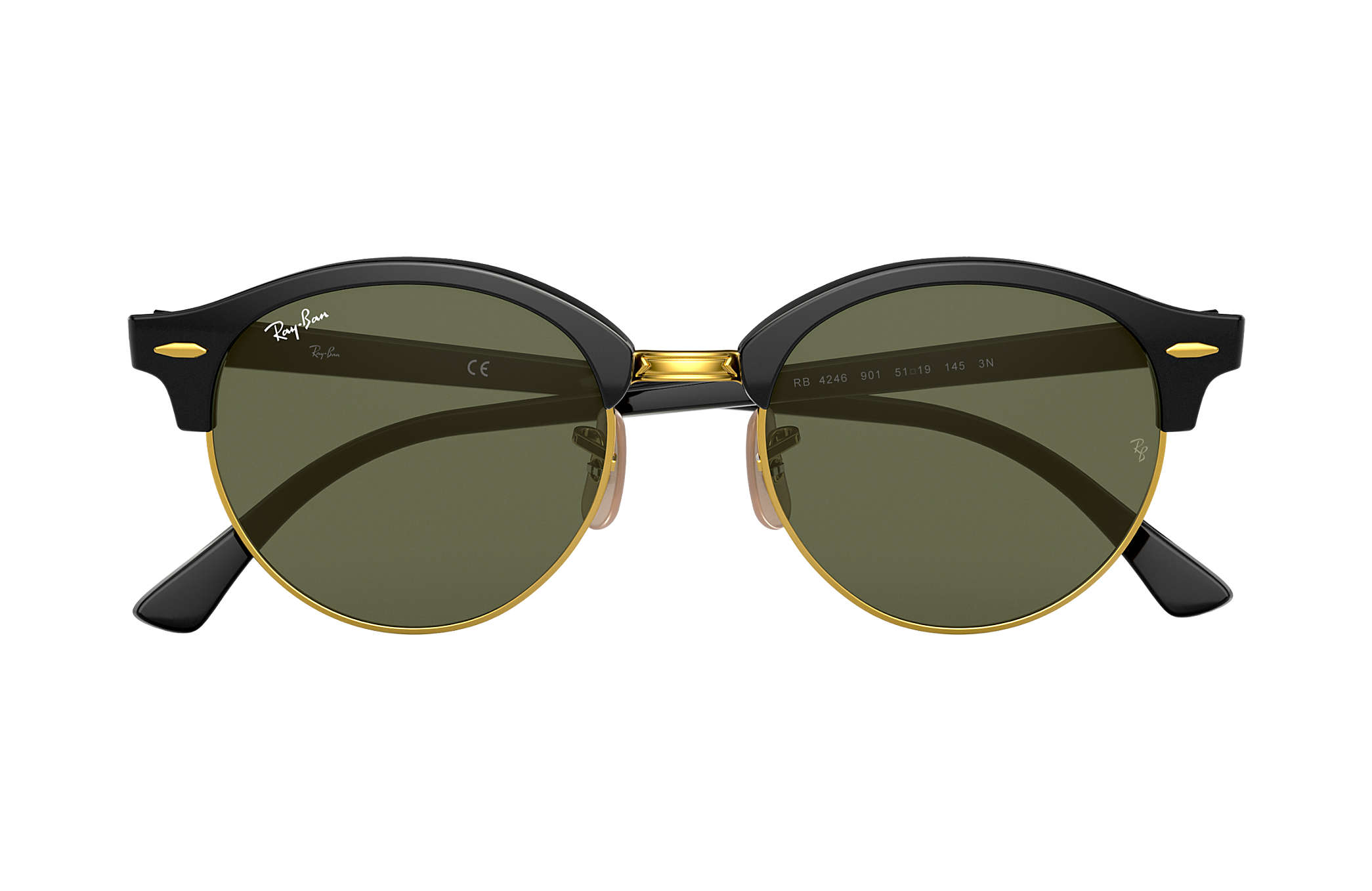 19f982926 Ray-Ban Clubround Classic RB4246 Black - Acetate - Green Lenses ...