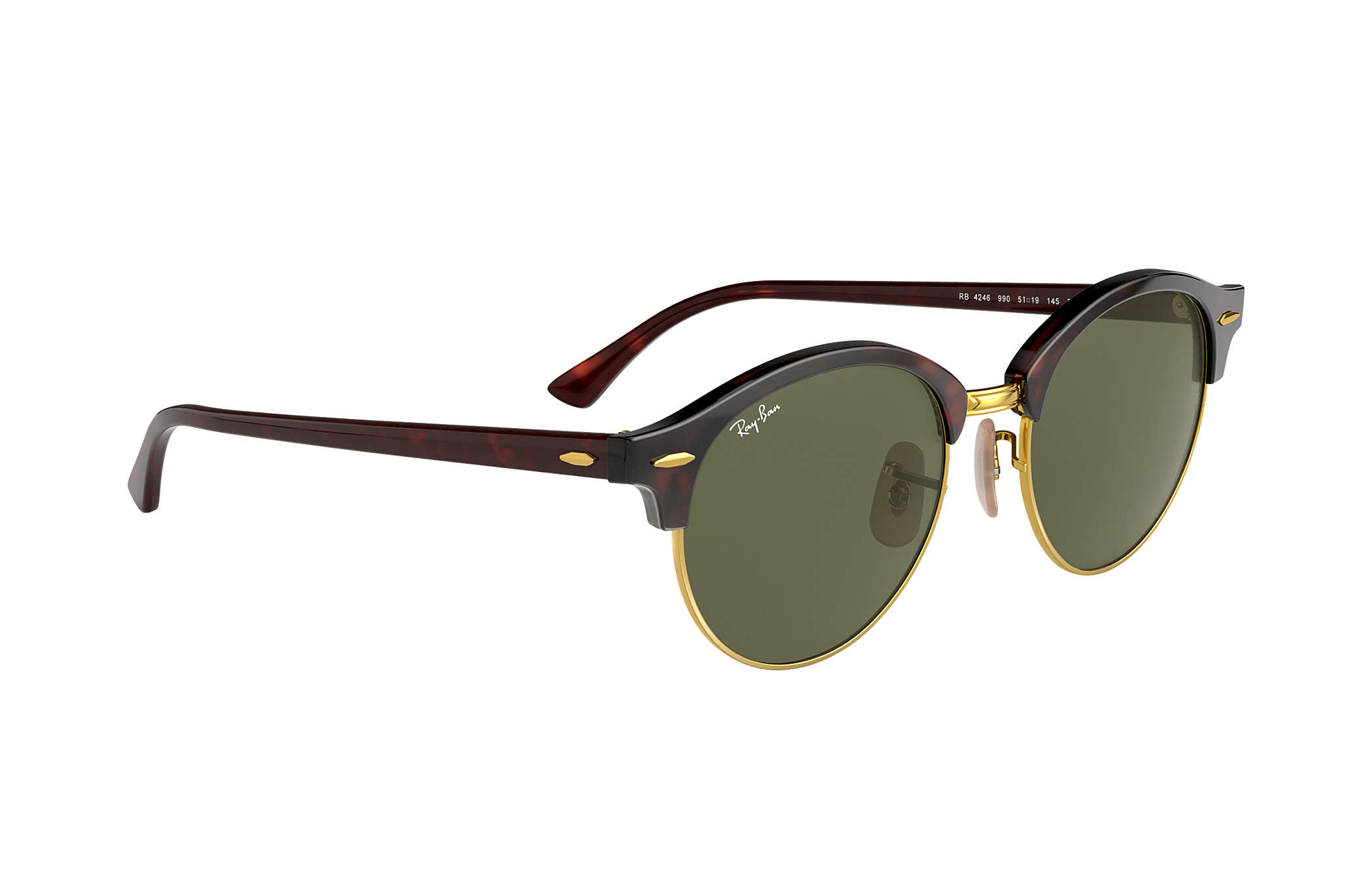 42515454f7 Ray-Ban Clubround Classic RB4246 Tortoise - Acetate - Green Lenses ...