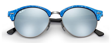 Ray-Ban		 CLUBROUND FLASH LENSES Blue met brillenglas Silver Flash