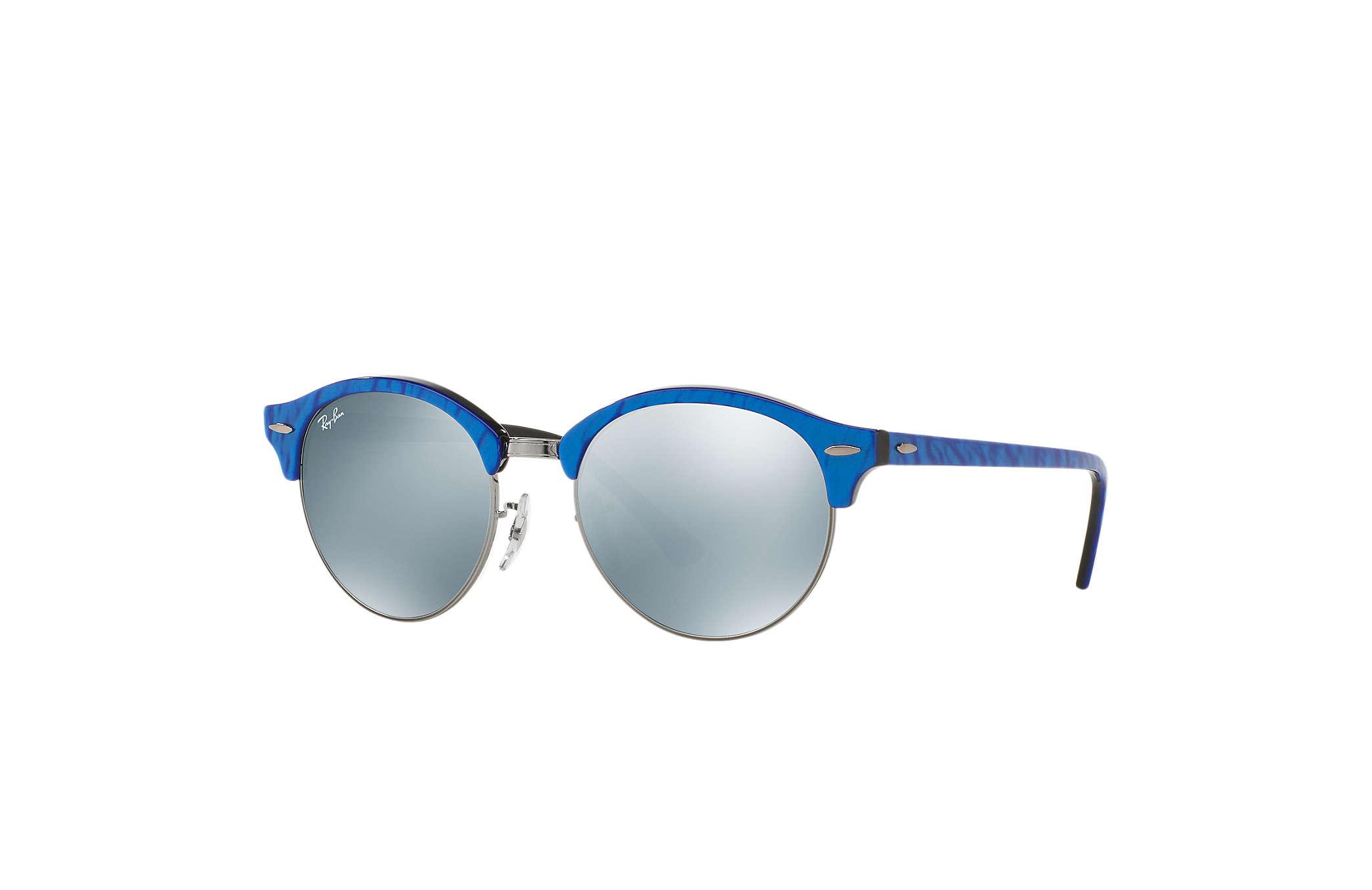 Ray-Ban Clubround Flash Lenses RB4246 Azul - Acetato - Lentes Prata ... ed348cceec