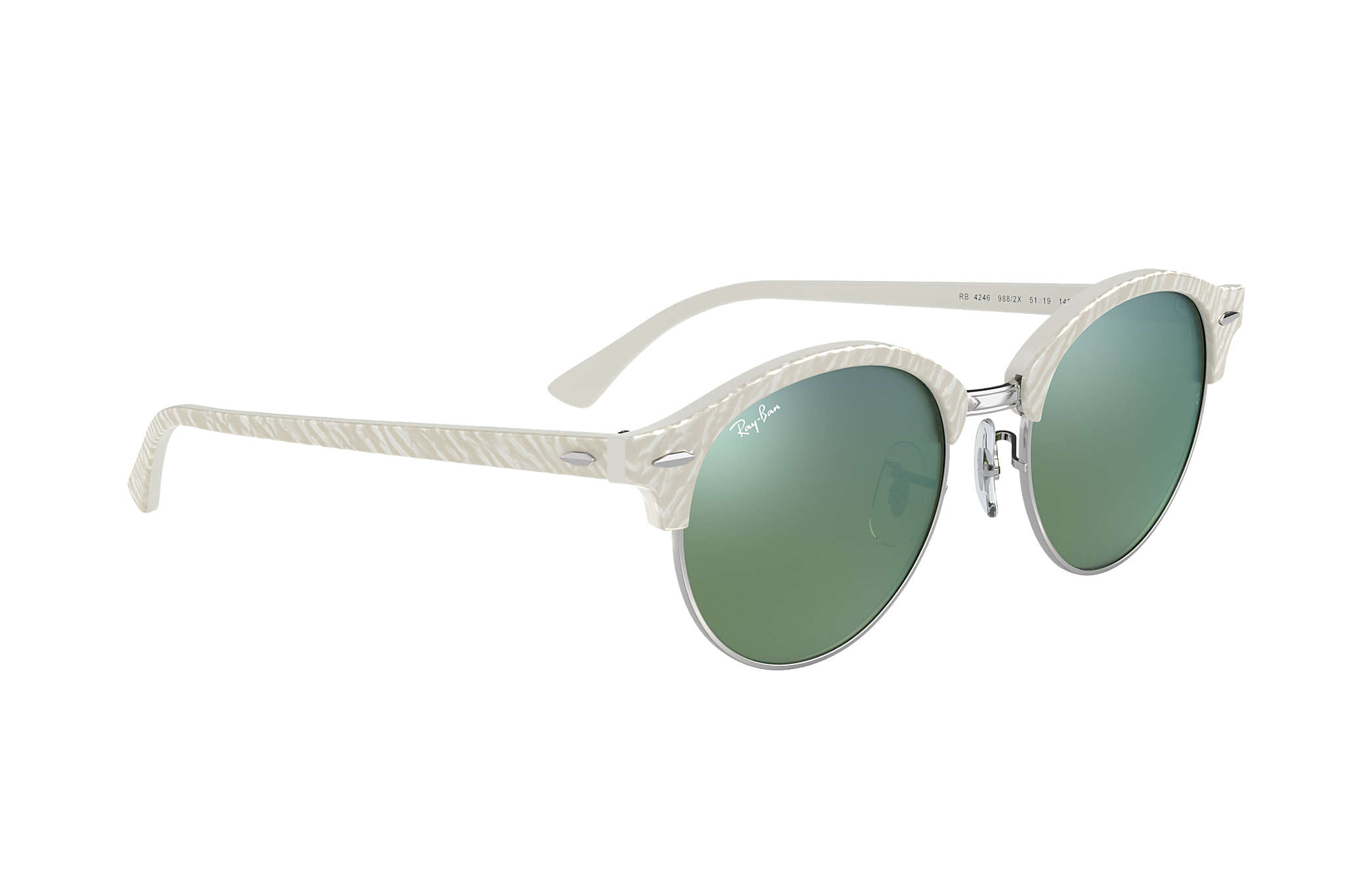 2ee23237523d3 Ray-Ban Clubround Flash Lenses RB4246 White - Acetate - Green Lenses ...