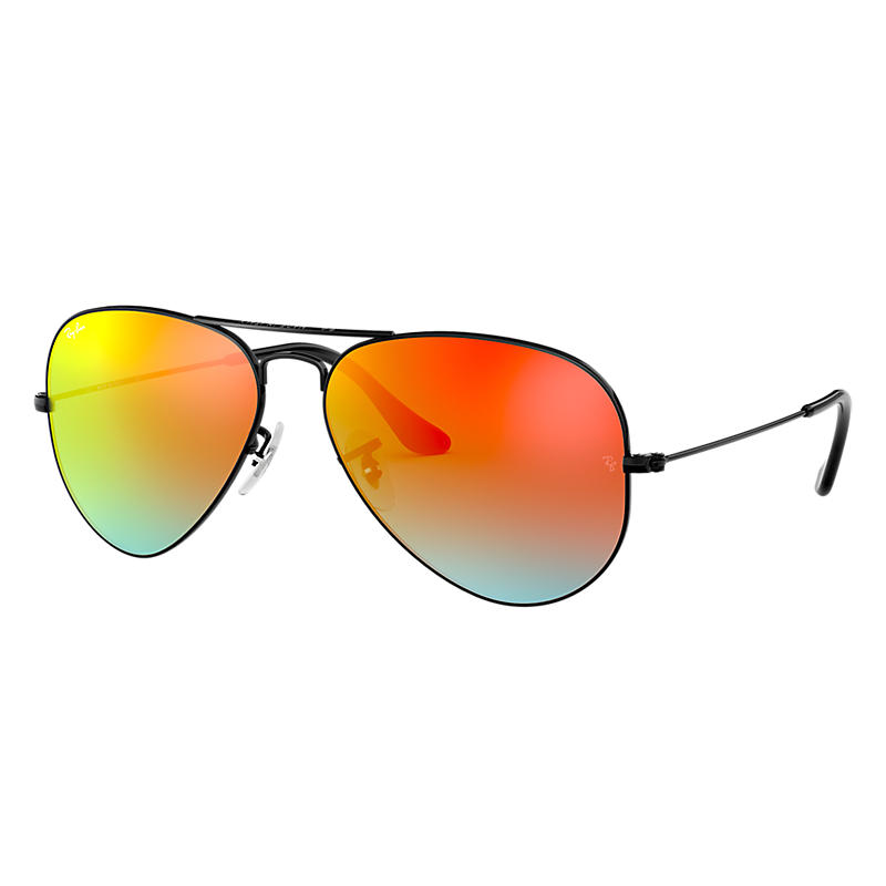 Ray Ban Aviator Black Sunglasses, Orange Flash Lenses Rb3025