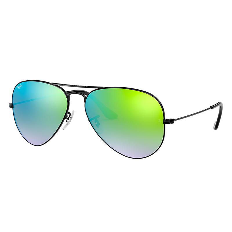 Ray Ban Aviator Black Sunglasses, Green Flash Lenses Rb3025