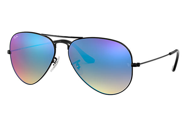 Ray-Ban Sunglasses AVIATOR FLASH LENSES GRADIENT Black with Blue Gradient Flash lens