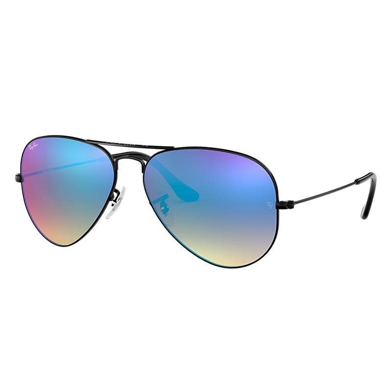 Ray Ban Aviator Black Sunglasses, Blue Gradient Flash Lenses Rb3025