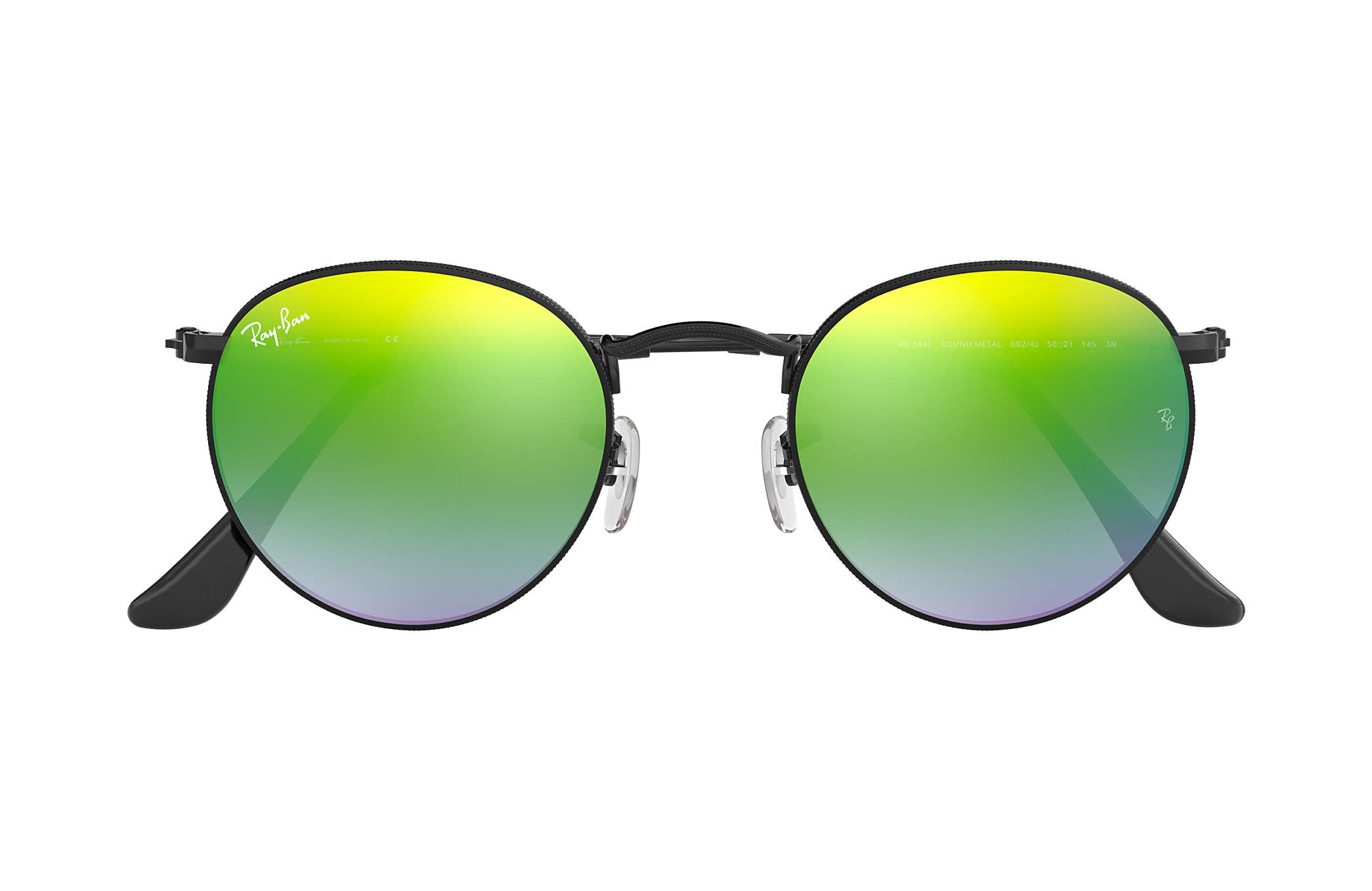 391220f9514 Ray-Ban Round Flash Lenses Gradient RB3447 Black - Metal - Green ...