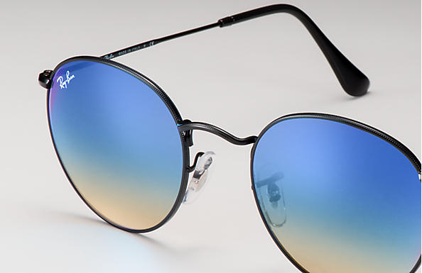 0015d1d63da Ray-Ban Round Flash Lenses Gradient RB3447 Black - Metal - Blue ...