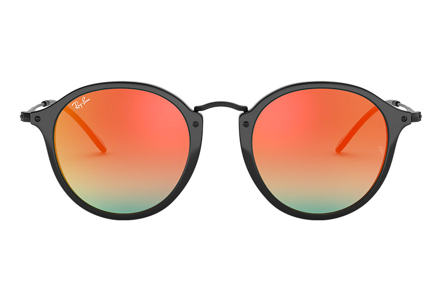 Ray-Ban ROUND FLECK FLASH LENSES GRADIENT Black with Orange Gradient Flash lens