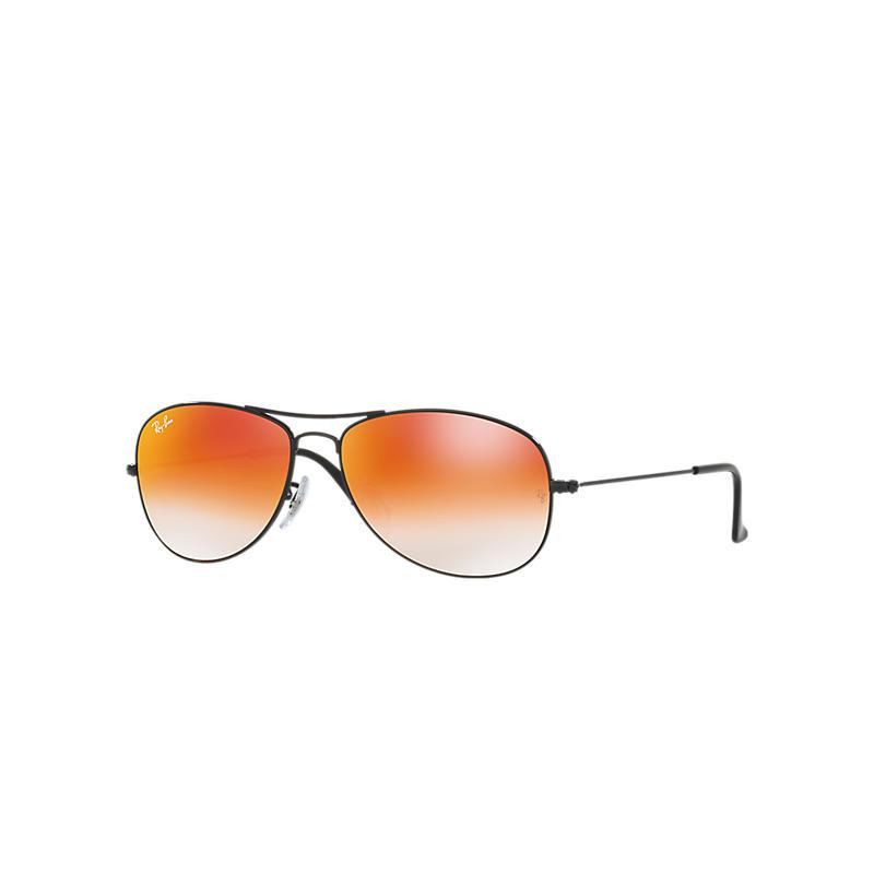 Ray-Ban Cockpit Black Sunglasses, Orange Flash Lenses