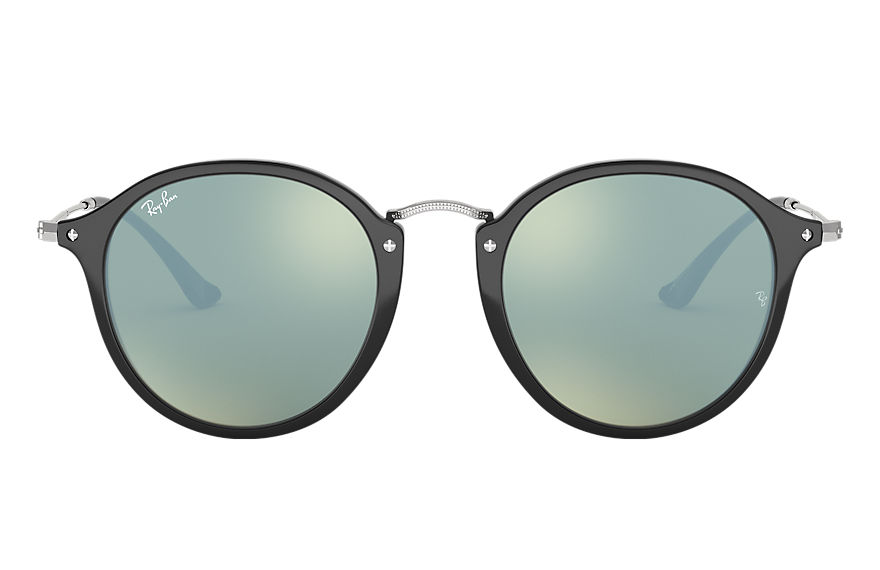 Ray-Ban Sunglasses ROUND FLECK @Collection Black with Silver Flash lens