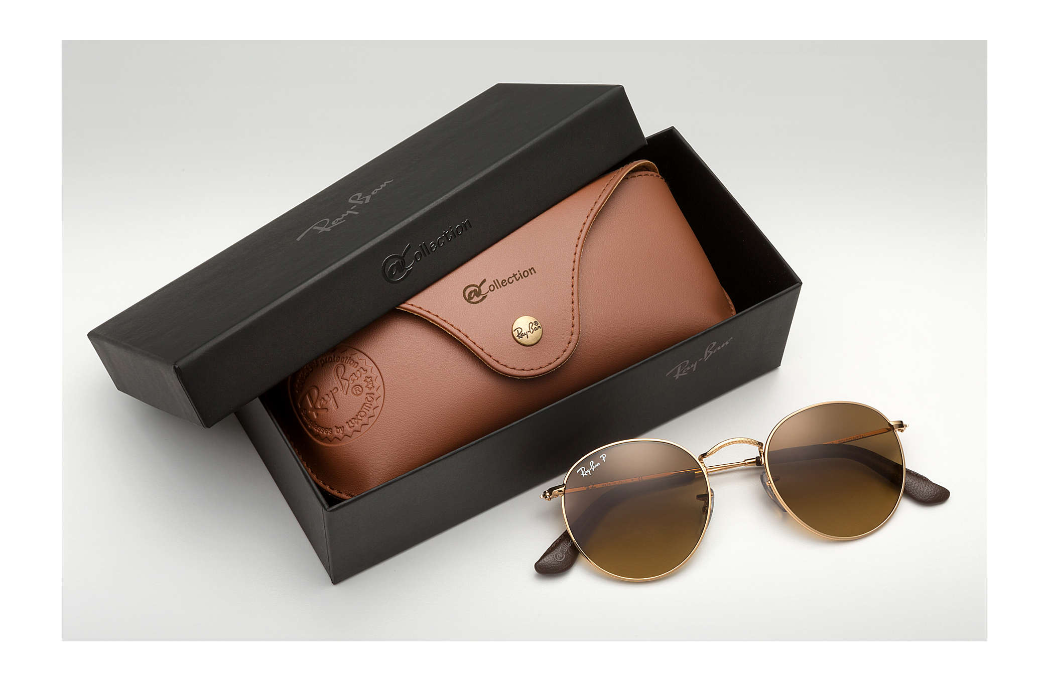 ca2221d5a316c Ray-Ban Round Metal  collection RB3447 Gold - Metal - Brown ...
