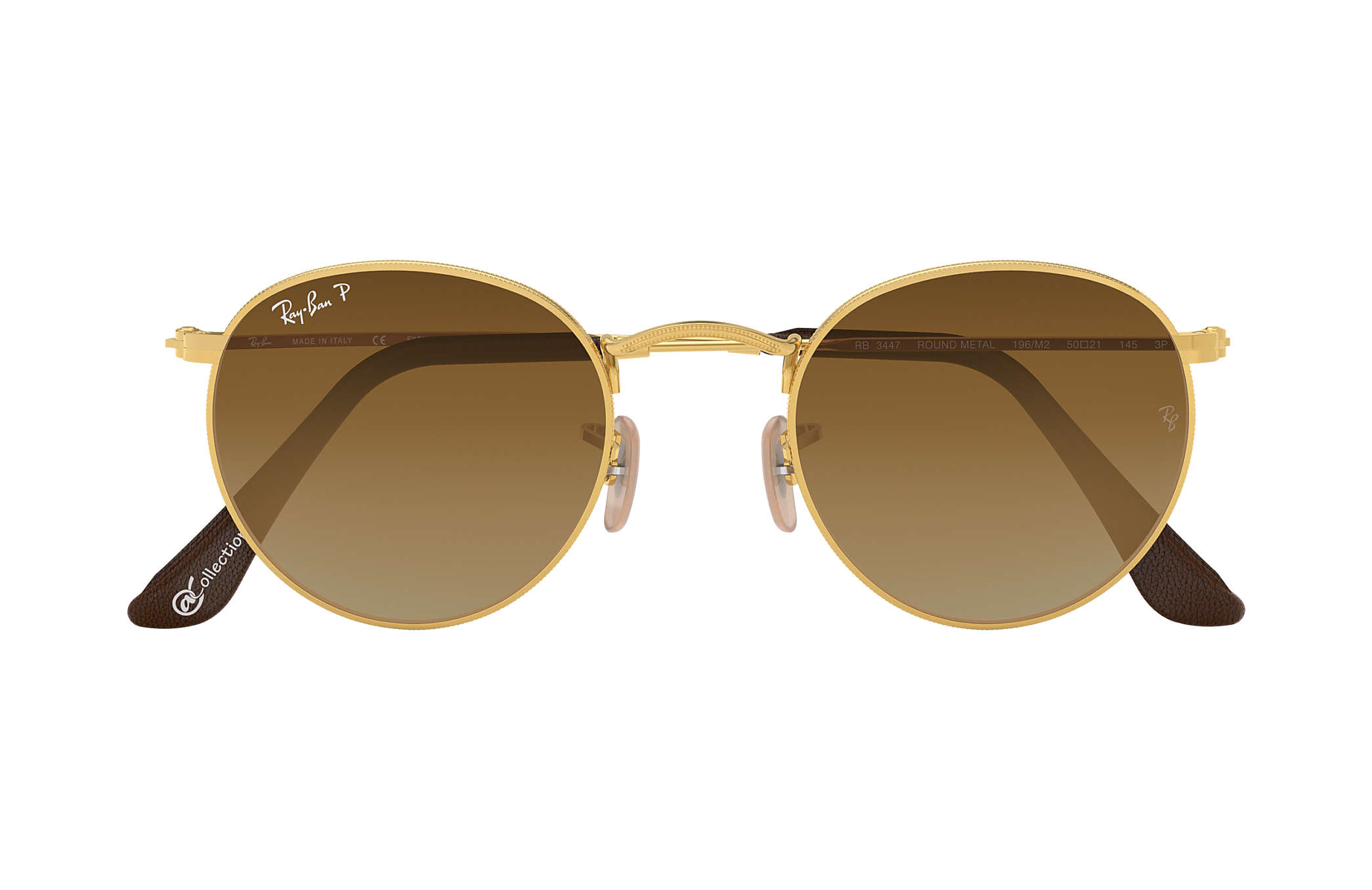c8112a68af67a7 Round Metal  collection Ray-Ban RB3447 Or - Métal - Marron Verres ...