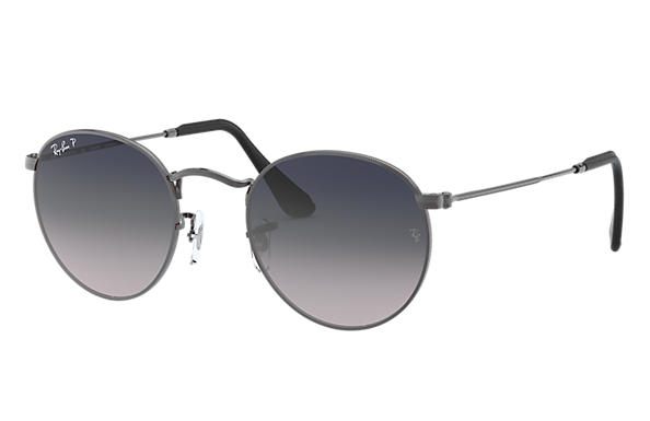 Ray-Ban Sunglasses ROUND METAL @Collection Polished Gunmetal with Blue/Grey Gradient lens