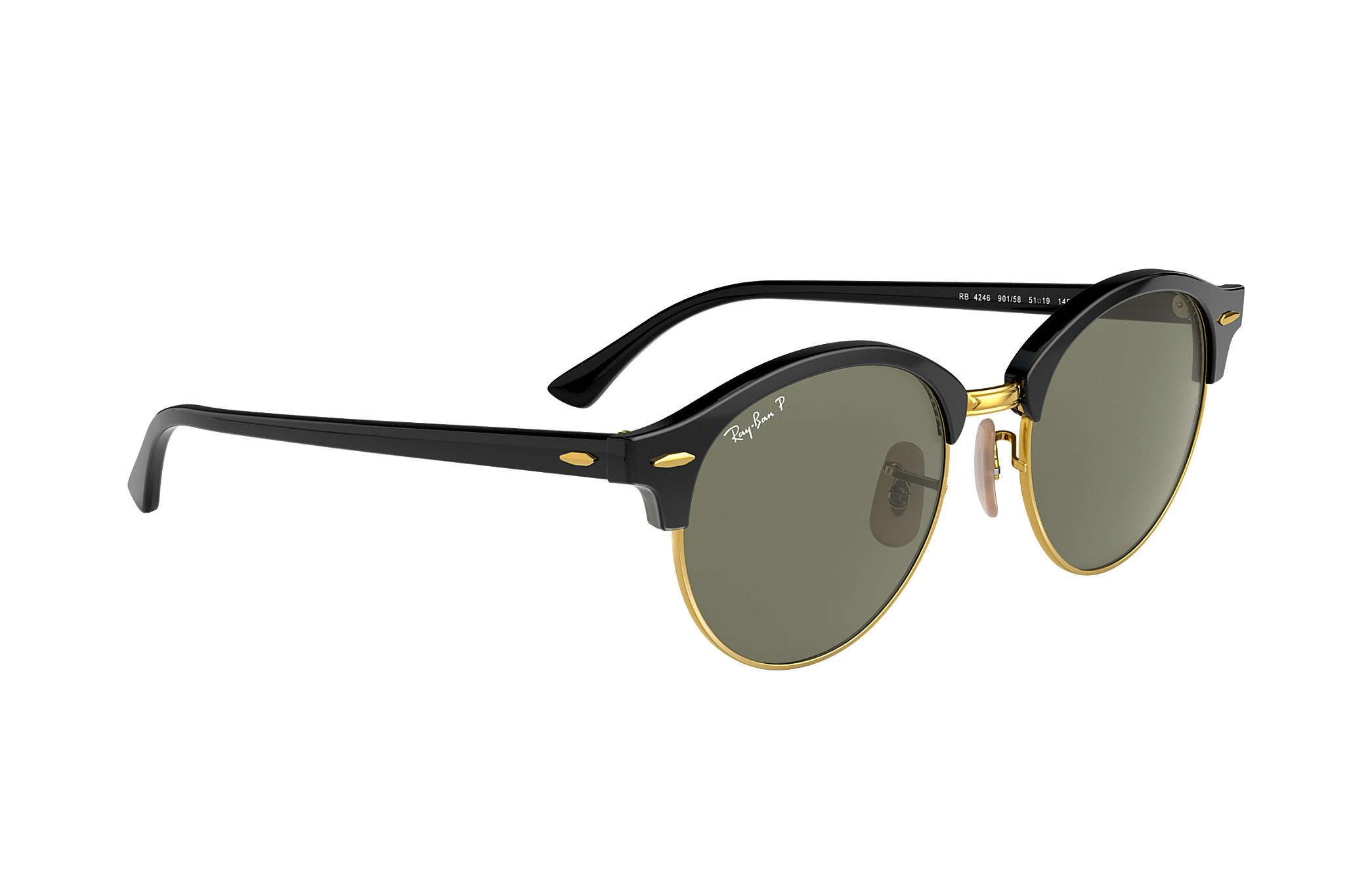 08db0a33d4324 Ray-Ban Clubround Classic RB4246 Black - Acetate - Green Polarized ...