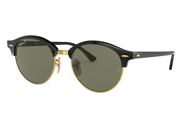 Ray-Ban 0RB4246-CLUBROUND CLASSIC Black,Gold; Black SUN