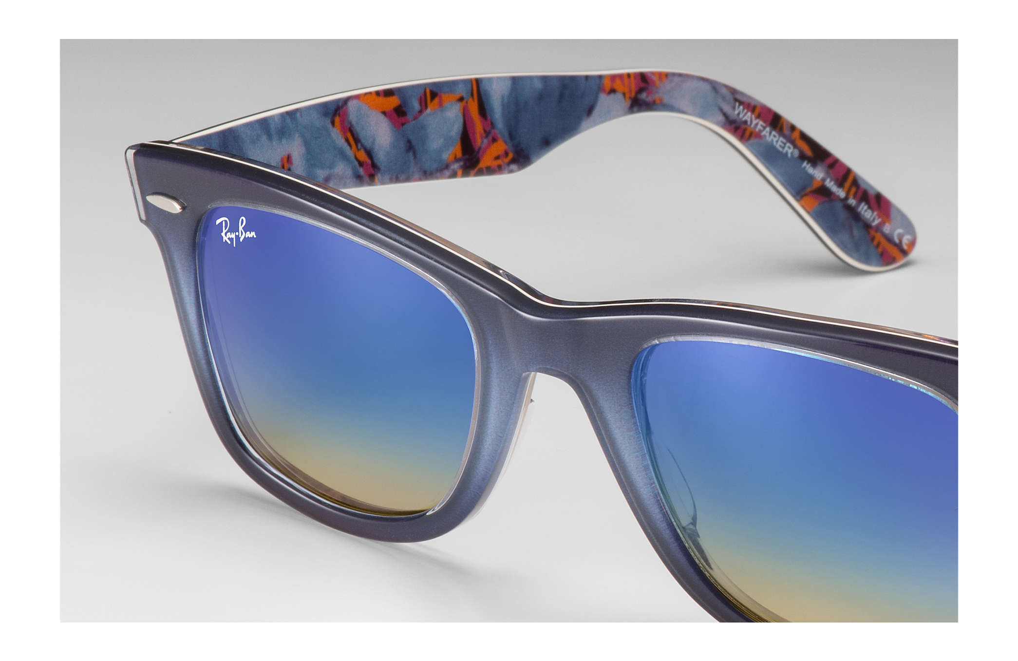 d3926c774b9e7 Ray-Ban Original Wayfarer Floral RB2140 Grey - Acetate - Blue Lenses ...