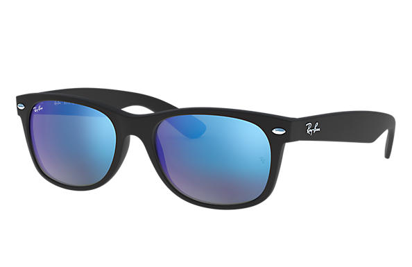 Ray-Ban Sunglasses NEW WAYFARER FLASH LOW BRIDGE FIT Black with Blue Flash lens