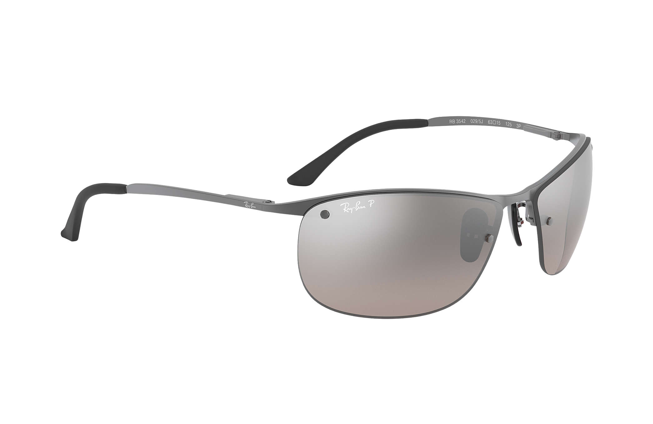 3850ad1e04 Ray-Ban Rb3542 Chromance RB3542 Gunmetal - Metal - Silver Polarized ...