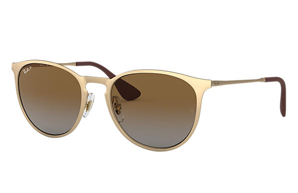 Ray-Ban Sunglasses ERIKA METAL Matte Gold with Brown Gradient lens