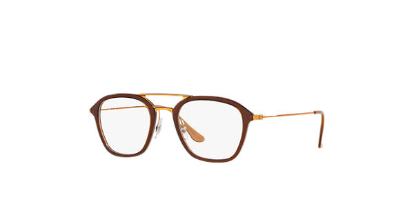 13fb4ac6848 Ray-Ban prescription glasses RB7098 Brown - Injected - 0RX7098563450 ...