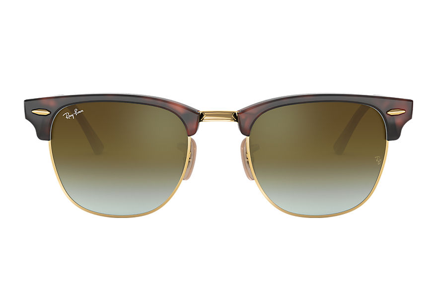 Ray-Ban Sunglasses CLUBMASTER FLASH LENSES GRADIENT Tortoise with Green Gradient Flash lens