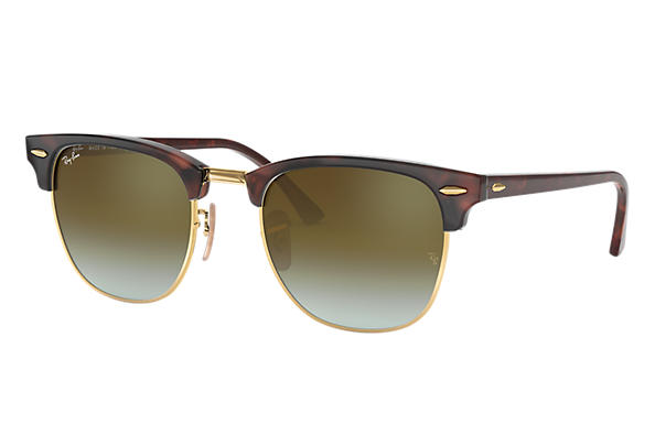 Ray-Ban		 CLUBMASTER FLASH LENSES GRADIENT Tortoise met brillenglas Groen Gradiënt Flash