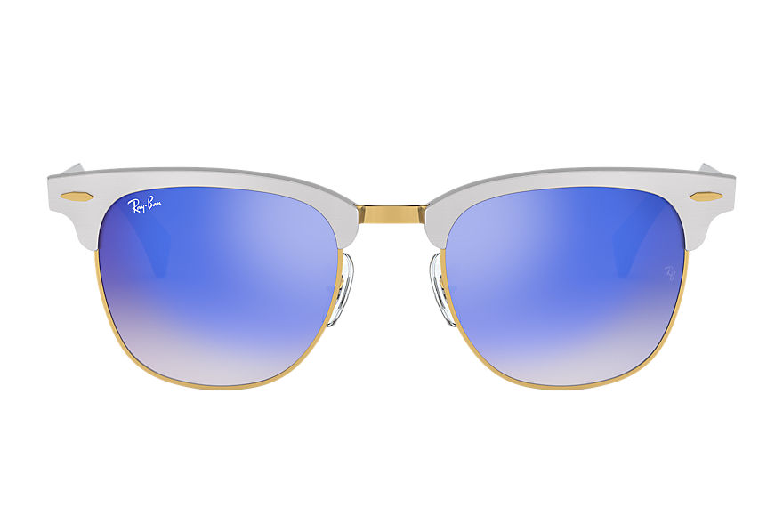 Ray-Ban Gafas-de-sol CLUBMASTER ALUMINUM FLASH LENSES GRADIENT Plata con lente Azul Flash degradado