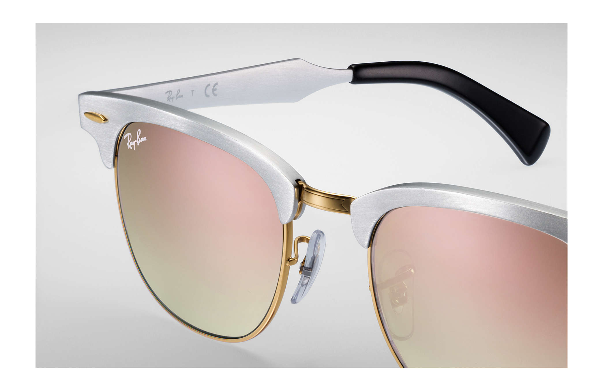 d8adf28b3fd21 ... Ray-Ban 0RB3507-CLUBMASTER ALUMINUM FLASH LENSES GRADIENT Silver SUN