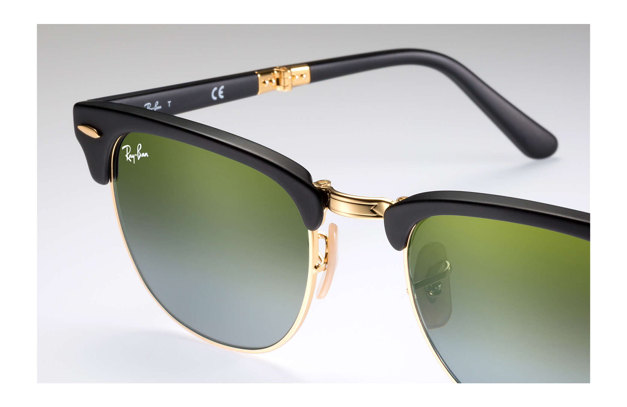 183a146af2a ... Ray-Ban 0RB2176-CLUBMASTER FOLDING FLASH LENSES GRADIENT Black  Gold  SUN ...