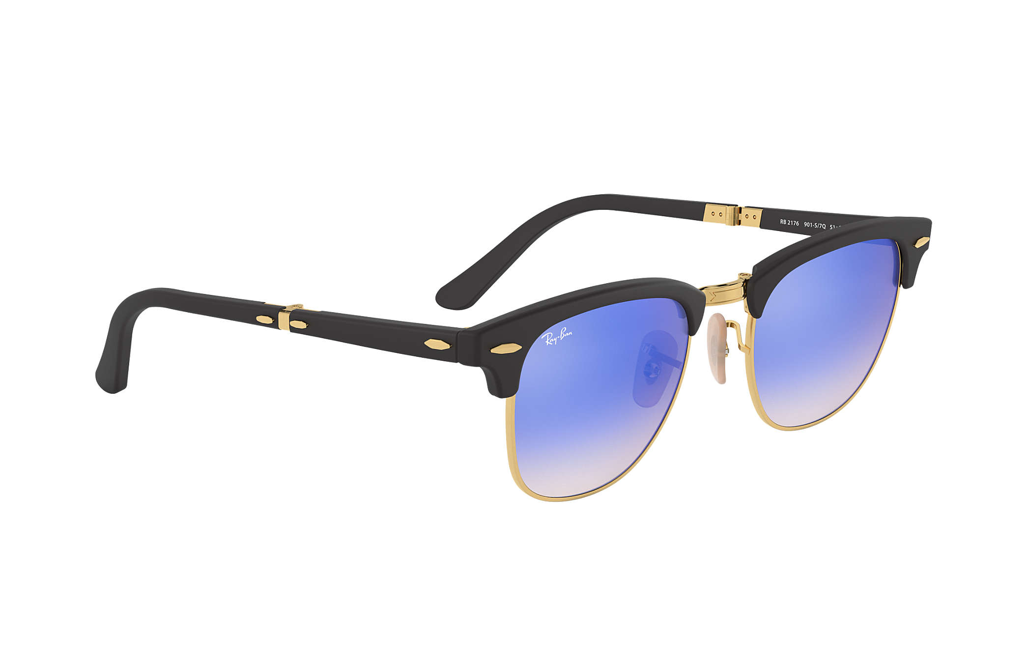 afce61d165 ... Ray-Ban 0RB2176-CLUBMASTER FOLDING FLASH LENSES GRADIENT Black  Gold  SUN ...