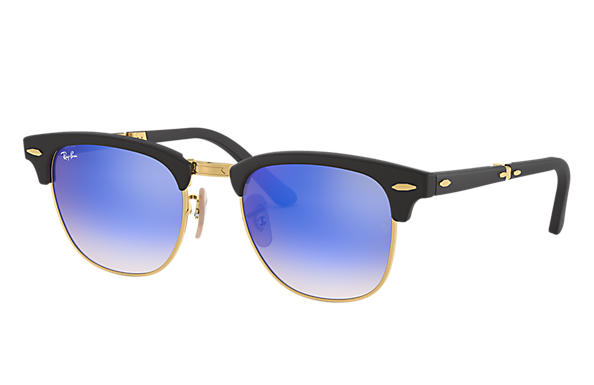 Ray-Ban		 CLUBMASTER FOLDING FLASH LENSES GRADIENT Zwart met brillenglas Blauw Gradiënt Flash