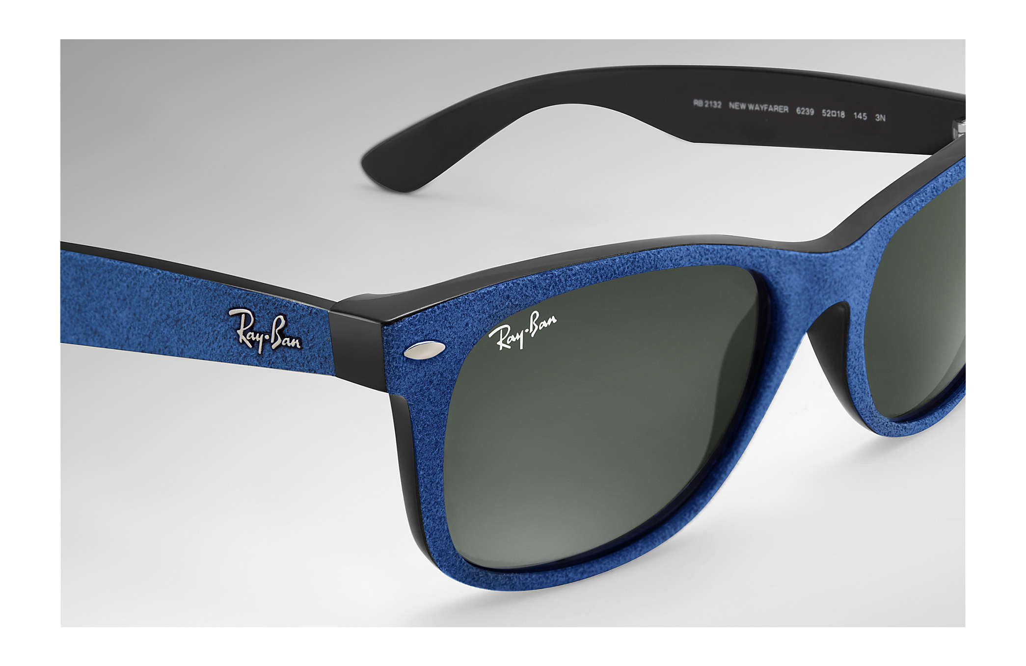 cb54caeb65 Ray-Ban New Wayfarer With Alcantara® RB2132 Blue - Nylon - Green ...