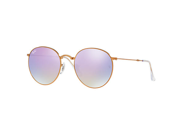 781514c8eff Ray-Ban Round Metal Folding RB3532 Bronze-Copper - Metal - Lilac ...