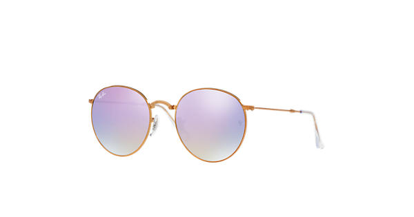 1f81265717 Ray-Ban Round Metal Folding RB3532 Bronze-Copper - Metal - Lilac Lenses -  0RB3532198 7X47