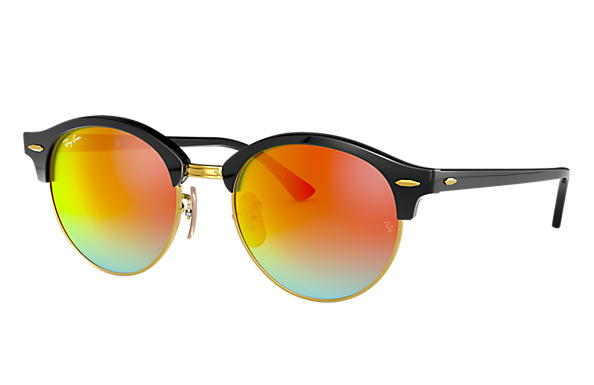 Ray-Ban Sunglasses CLUBROUND FLASH LENSES Black with Orange Gradient Flash lens