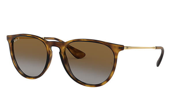 Ray-Ban Occhiali-da-sole Erika @Collection Tartarugato opaco con lente Marrone Sfumata
